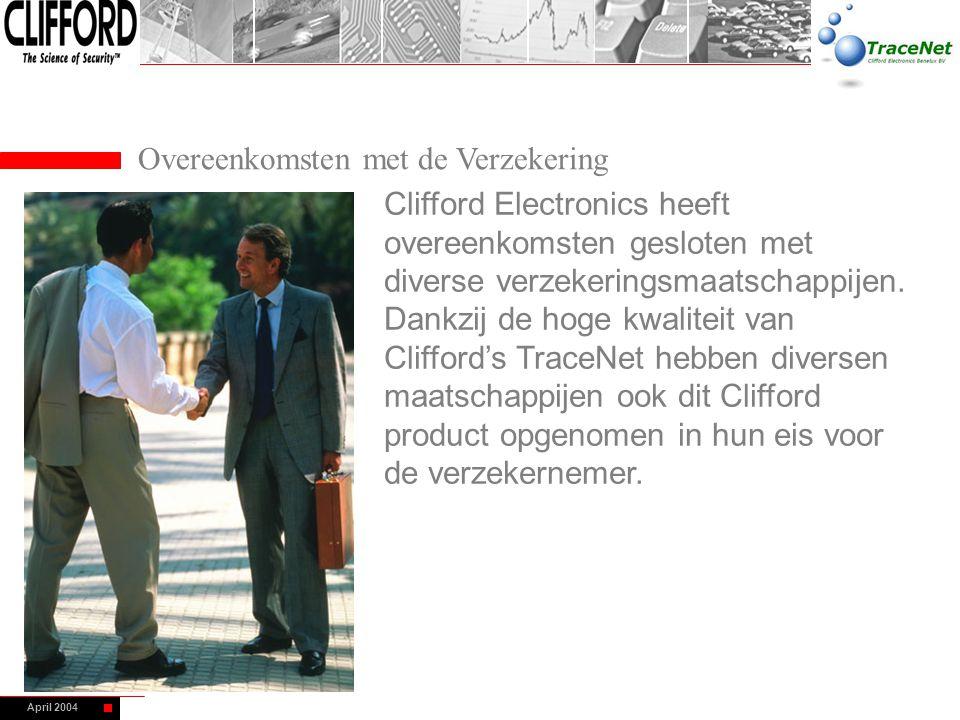 April 2004 Overeenkomsten met de Verzekering Clifford Electronics heeft overeenkomsten gesloten met diverse verzekeringsmaatschappijen. Dankzij de hog