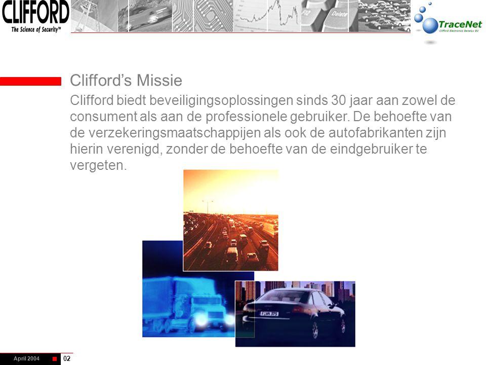 April 2004 Clifford's Missie Clifford biedt beveiligingsoplossingen sinds 30 jaar aan zowel de consument als aan de professionele gebruiker. De behoef