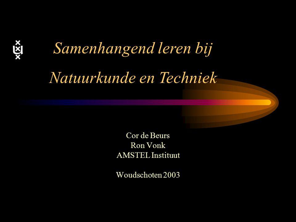 Cor de Beurs Ron Vonk AMSTEL Instituut Woudschoten 2003 Samenhangend leren bij Natuurkunde en Techniek