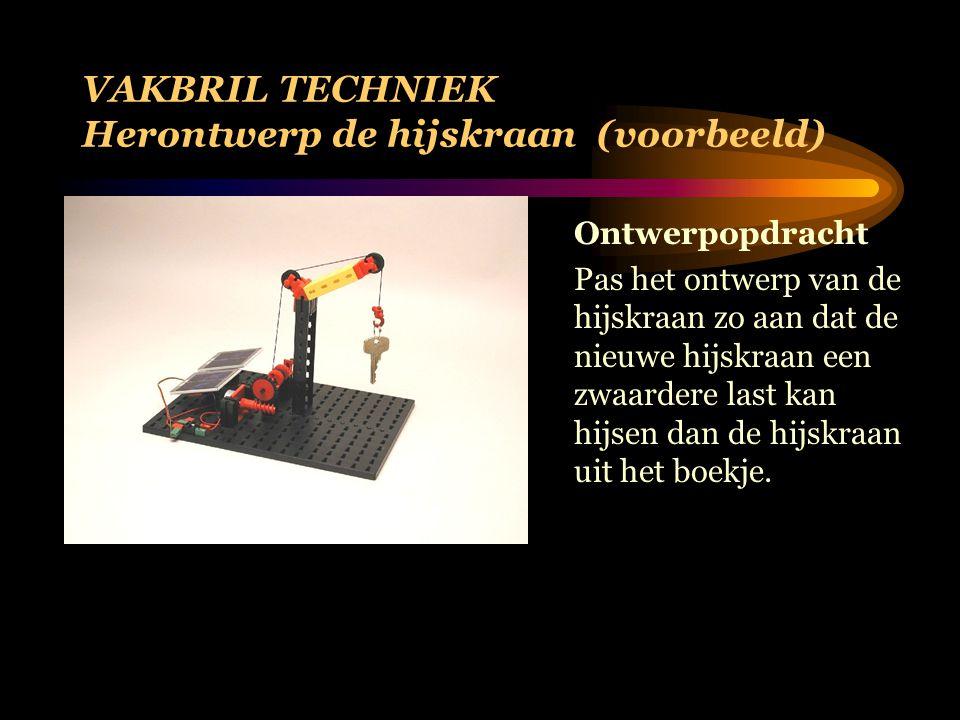 VAKBRIL TECHNIEK Herontwerp de hijskraan (voorbeeld) Ontwerpopdracht Pas het ontwerp van de hijskraan zo aan dat de nieuwe hijskraan een zwaardere last kan hijsen dan de hijskraan uit het boekje.