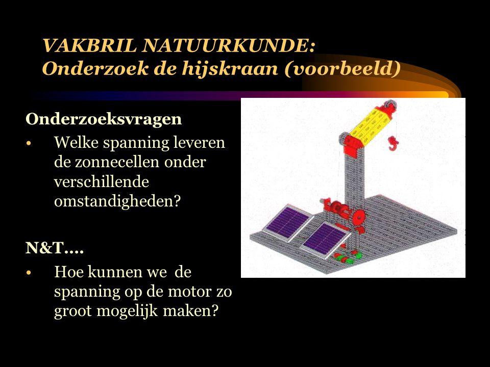 VAKBRIL NATUURKUNDE: Onderzoek de hijskraan (voorbeeld) Onderzoeksvragen Welke spanning leveren de zonnecellen onder verschillende omstandigheden.