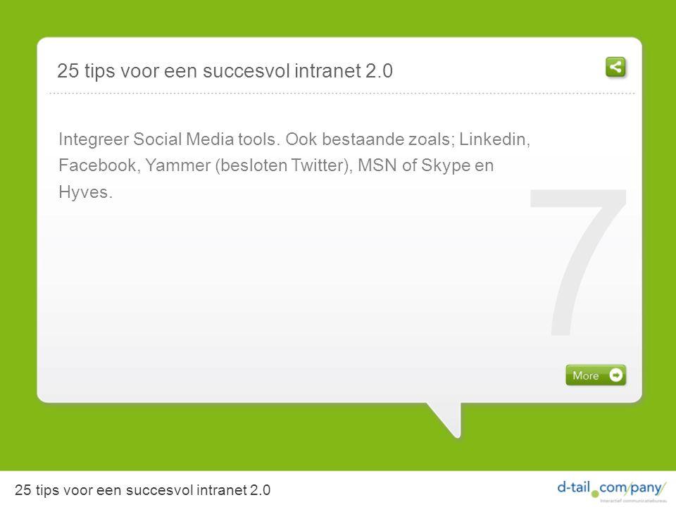 Integreer Social Media tools.