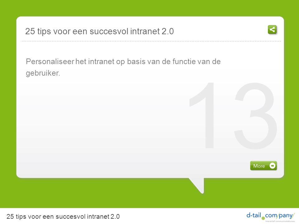 Personaliseer het intranet op basis van de functie van de gebruiker.