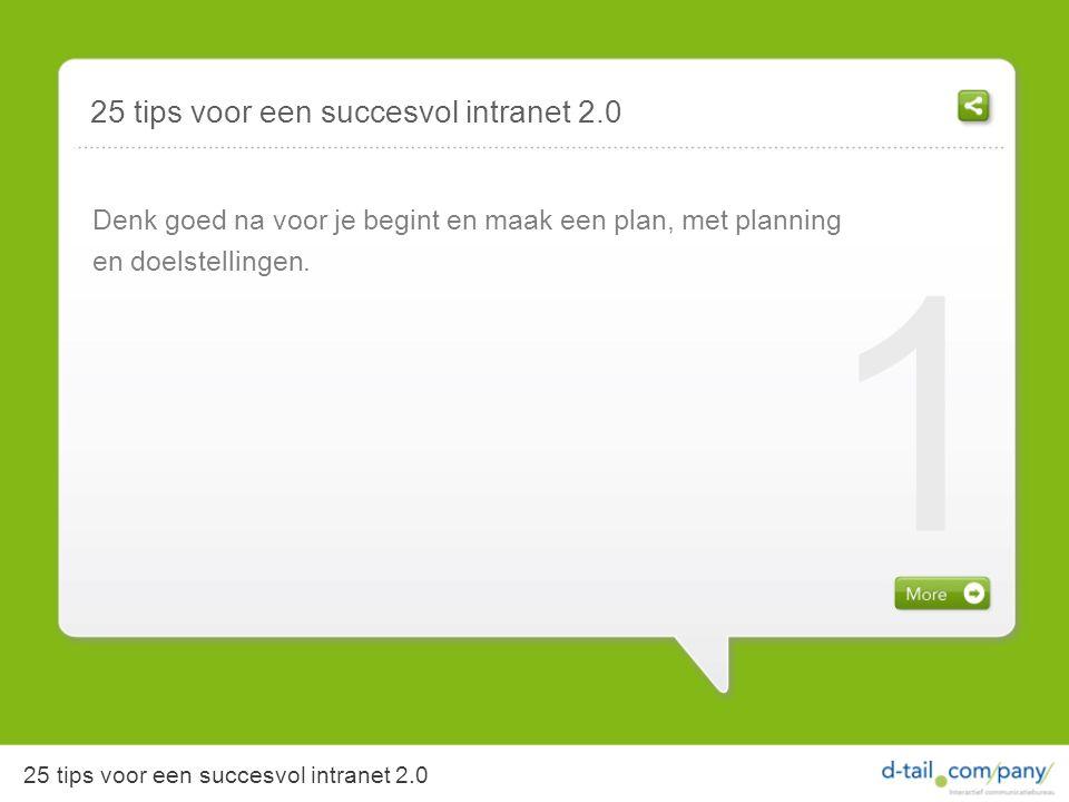 25 tips voor een succesvol intranet 2.0 Denk goed na voor je begint en maak een plan, met planning en doelstellingen.