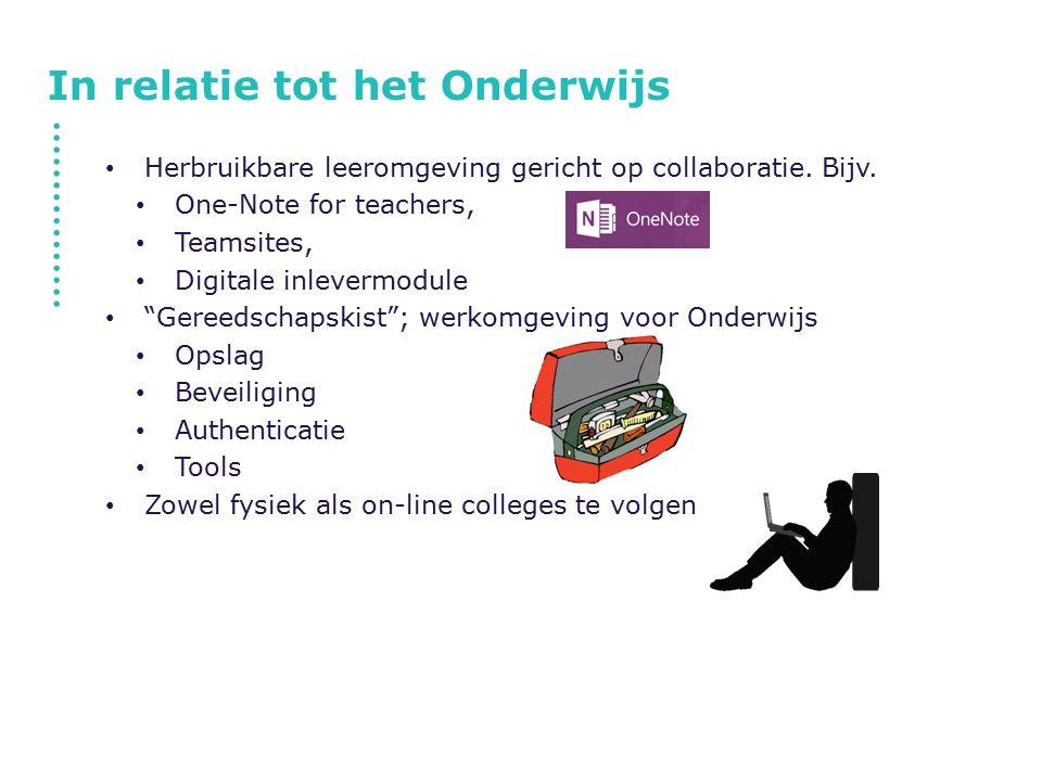 """In relatie tot het Onderwijs Herbruikbare leeromgeving gericht op collaboratie. Bijv. One-Note for teachers, Teamsites, Digitale inlevermodule """"Gereed"""
