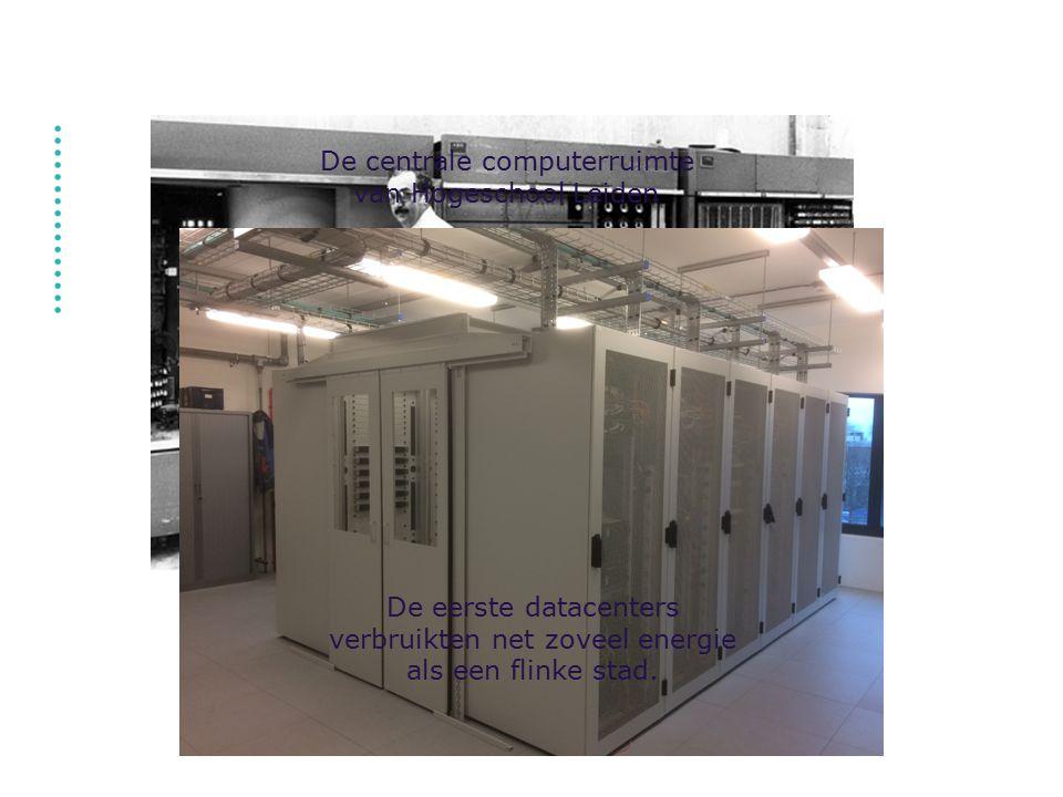 De eerste datacenters verbruikten net zoveel energie als een flinke stad. De centrale computerruimte van Hogeschool Leiden