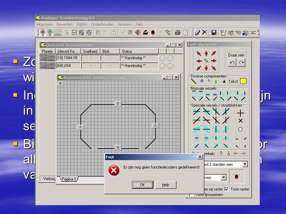 Uitbreiding inhaalspoor Wisseldecoder toevoegen.  Zowel voor wissels als seinen kan een wisseldecoder worden geselecteerd.  Indien er geen wisseldec