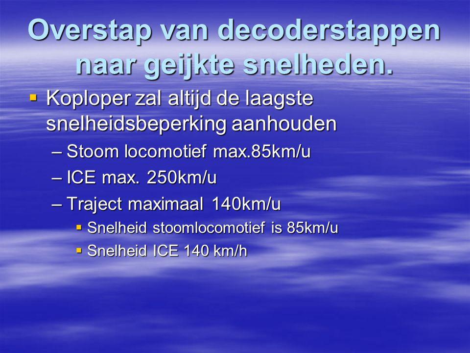 Overstap van decoderstappen naar geijkte snelheden.  Koploper zal altijd de laagste snelheidsbeperking aanhouden –Stoom locomotief max.85km/u –ICE ma
