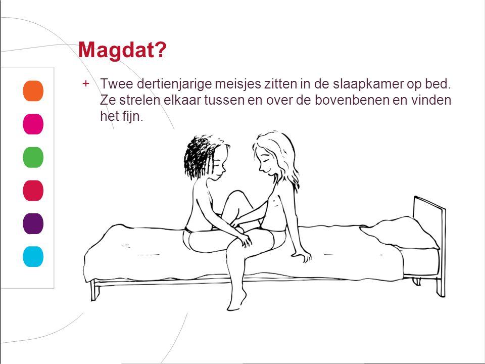 Magdat.+Twee dertienjarige meisjes zitten in de slaapkamer op bed.