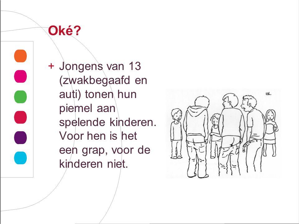 Oké.+Jongens van 13 (zwakbegaafd en auti) tonen hun piemel aan spelende kinderen.