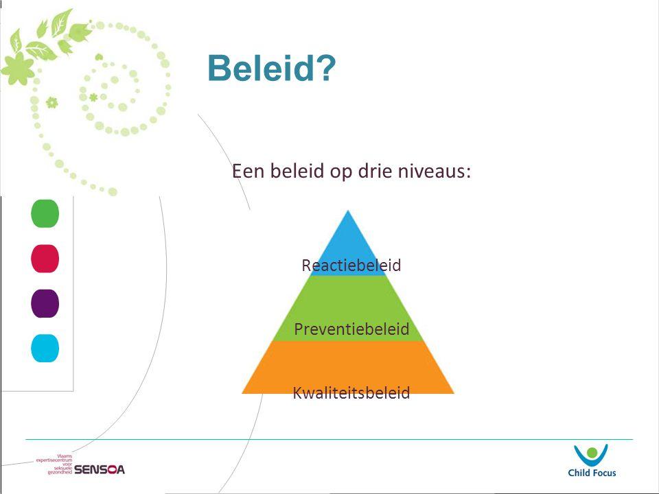 Beleid? Een beleid op drie niveaus: Reactiebeleid Preventiebeleid Kwaliteitsbeleid