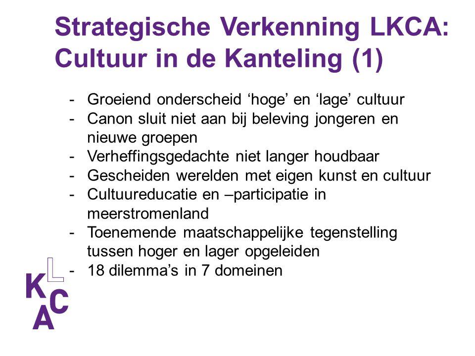 Strategische Verkenning LKCA: Cultuur in de Kanteling (1) -Groeiend onderscheid 'hoge' en 'lage' cultuur -Canon sluit niet aan bij beleving jongeren e
