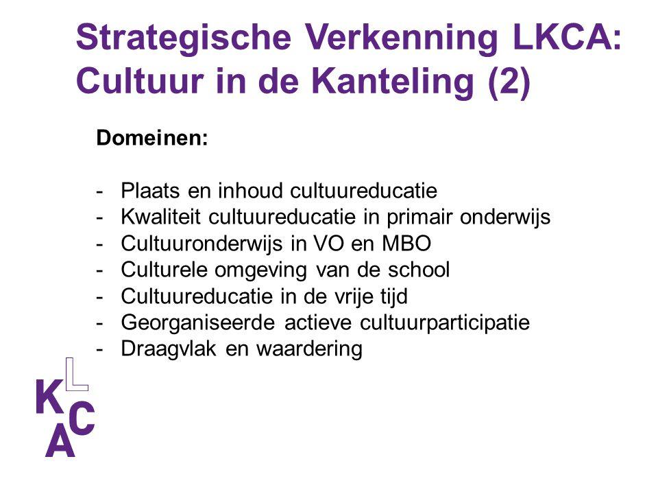 Strategische Verkenning LKCA: Cultuur in de Kanteling (2) Domeinen: -Plaats en inhoud cultuureducatie -Kwaliteit cultuureducatie in primair onderwijs