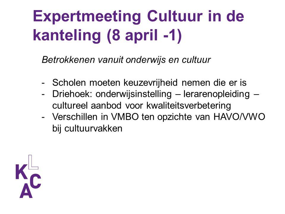 Expertmeeting Cultuur in de kanteling (8 april -1) Betrokkenen vanuit onderwijs en cultuur -Scholen moeten keuzevrijheid nemen die er is -Driehoek: on