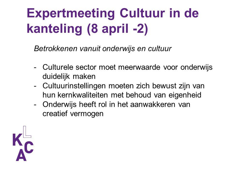 Expertmeeting Cultuur in de kanteling (8 april -2) Betrokkenen vanuit onderwijs en cultuur -Culturele sector moet meerwaarde voor onderwijs duidelijk