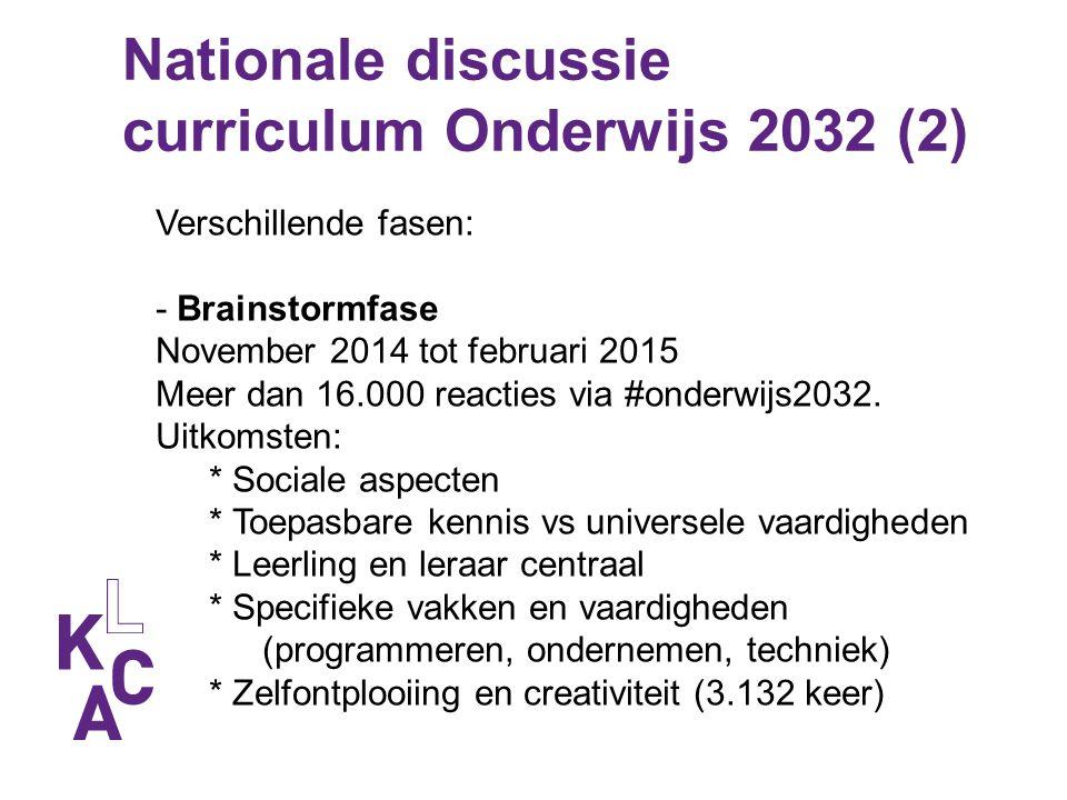 Nationale discussie curriculum Onderwijs 2032 (2) Verschillende fasen: - Brainstormfase November 2014 tot februari 2015 Meer dan 16.000 reacties via #