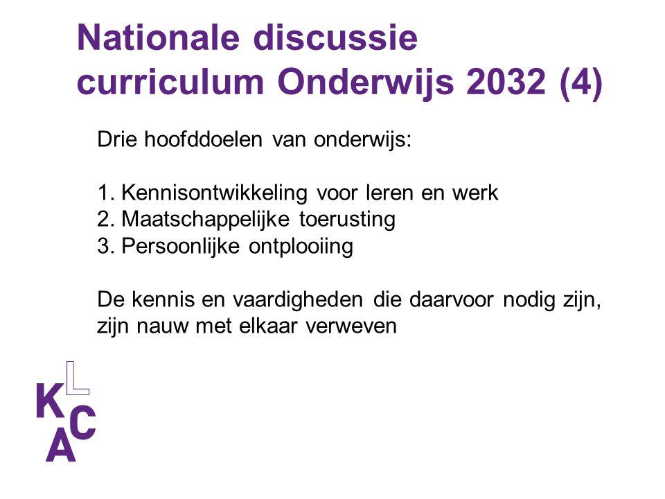 Nationale discussie curriculum Onderwijs 2032 (4) Drie hoofddoelen van onderwijs: 1. Kennisontwikkeling voor leren en werk 2. Maatschappelijke toerust