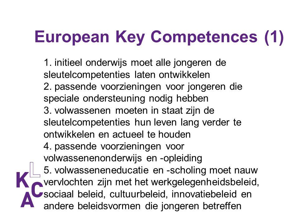 European Key Competences (1) 1. initieel onderwijs moet alle jongeren de sleutelcompetenties laten ontwikkelen 2. passende voorzieningen voor jongeren