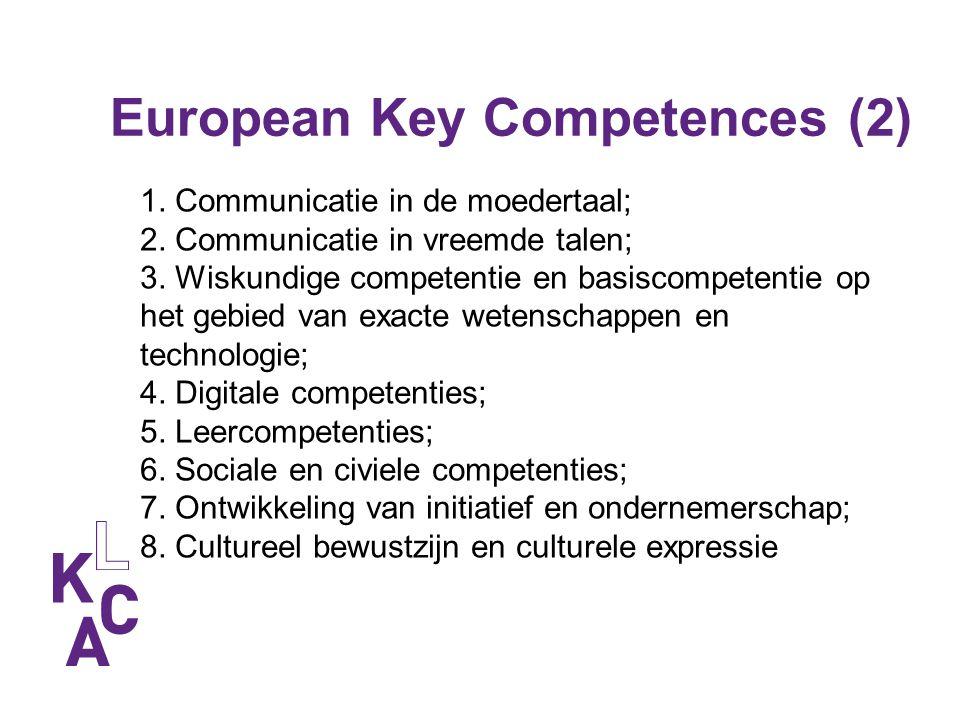 European Key Competences (2) 1. Communicatie in de moedertaal; 2. Communicatie in vreemde talen; 3. Wiskundige competentie en basiscompetentie op het