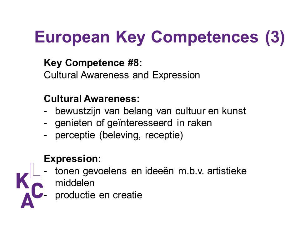 European Key Competences (3) Key Competence #8: Cultural Awareness and Expression Cultural Awareness: -bewustzijn van belang van cultuur en kunst -gen