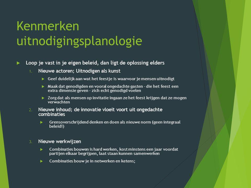 Kenmerken uitnodigingsplanologie  Loop je vast in je eigen beleid, dan ligt de oplossing elders 1.