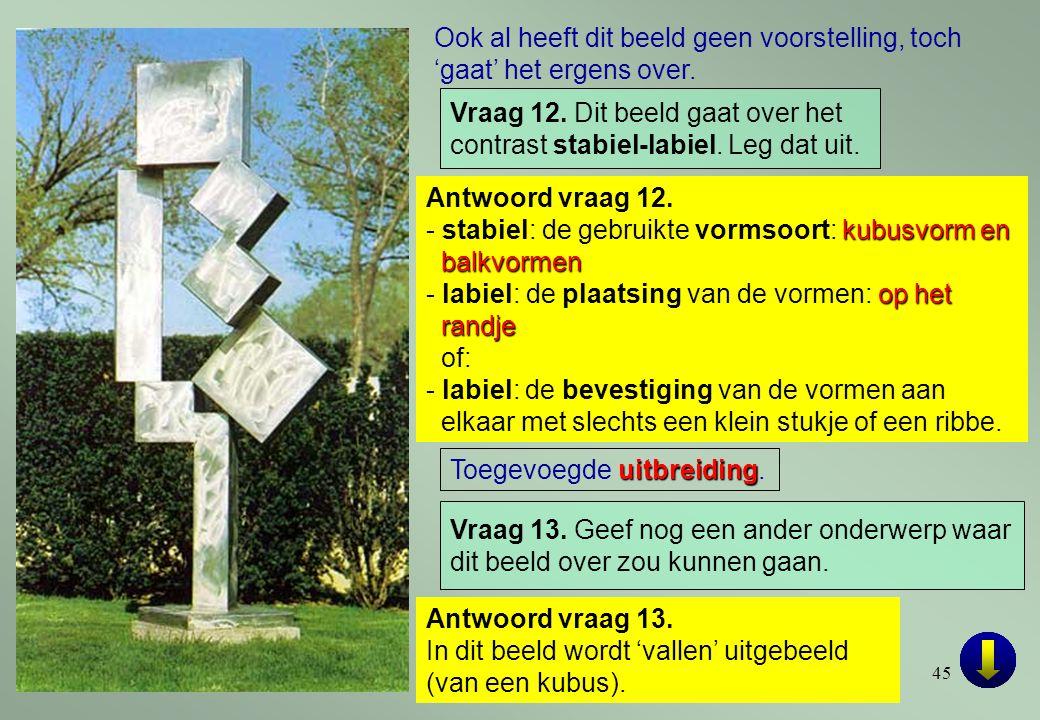 45 Antwoord vraag 12. kubusvorm en balkvormen - stabiel: de gebruikte vormsoort: kubusvorm en balkvormen op het randje - labiel: de plaatsing van de v