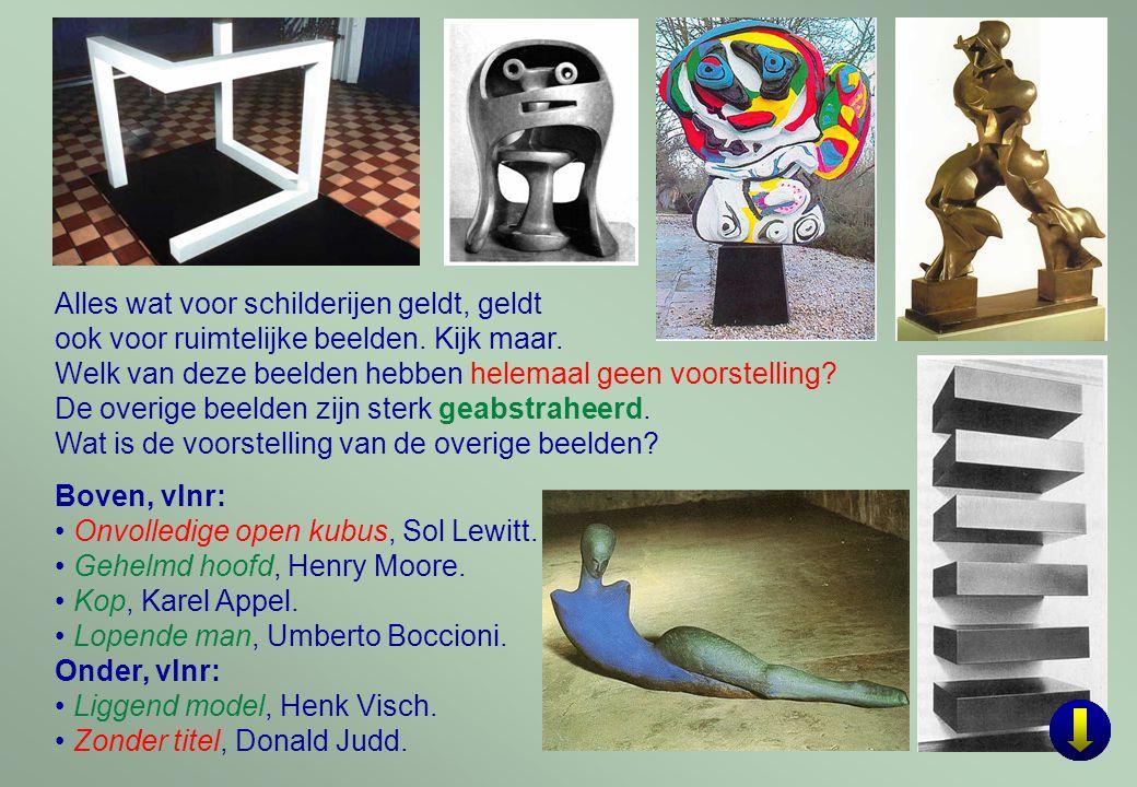 9 Onder, vlnr: Vogel in de ruimte, Brancusi, brons.