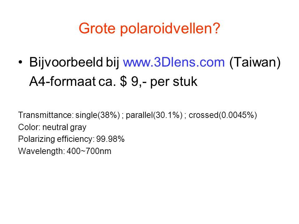 Grote polaroidvellen? Bijvoorbeeld bij www.3Dlens.com (Taiwan) A4-formaat ca. $ 9,- per stuk Transmittance: single(38%) ; parallel(30.1%) ; crossed(0.