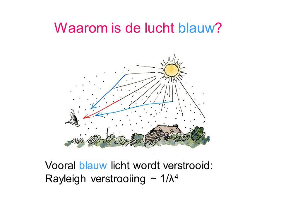 Vooral blauw licht wordt verstrooid: Rayleigh verstrooiing ~ 1/λ 4