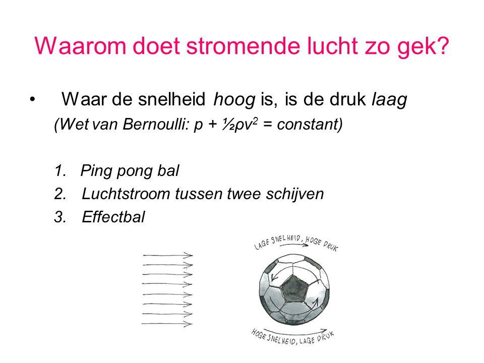 Waarom doet stromende lucht zo gek? Waar de snelheid hoog is, is de druk laag (Wet van Bernoulli: p + ½ρv 2 = constant) 1. Ping pong bal 2.Luchtstroom
