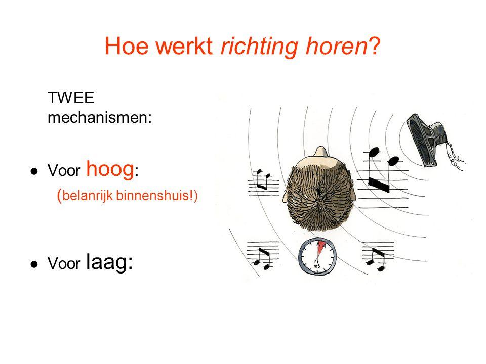 Hoe werkt richting horen? TWEE mechanismen: ●Voor hoog : ( belanrijk binnenshuis!) ●Voor laag: