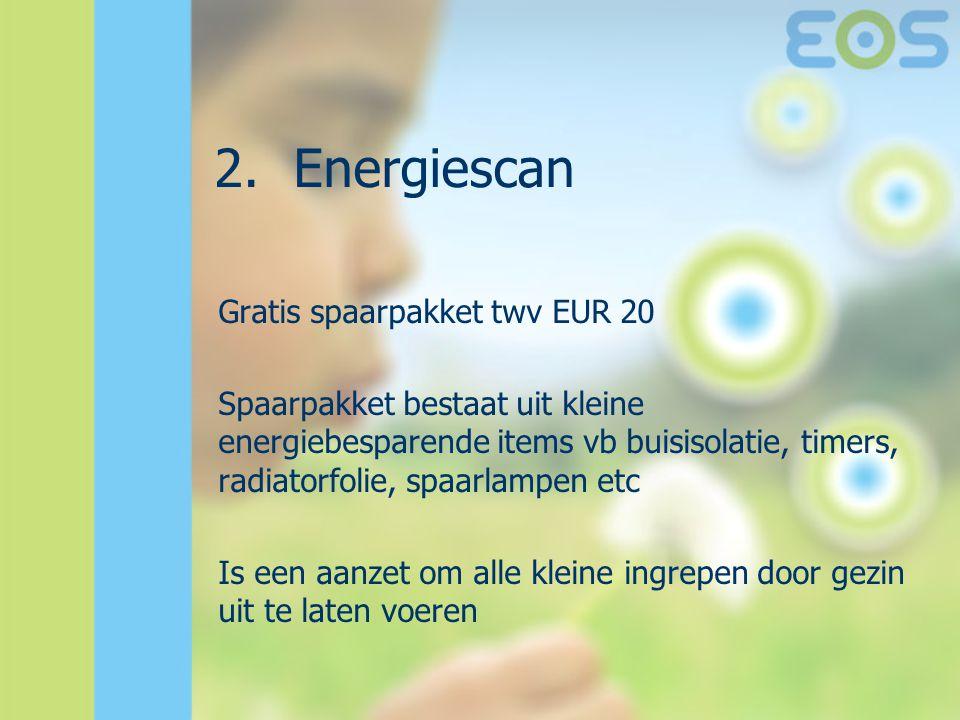 2.Energiescan Gratis spaarpakket twv EUR 20 Spaarpakket bestaat uit kleine energiebesparende items vb buisisolatie, timers, radiatorfolie, spaarlampen etc Is een aanzet om alle kleine ingrepen door gezin uit te laten voeren