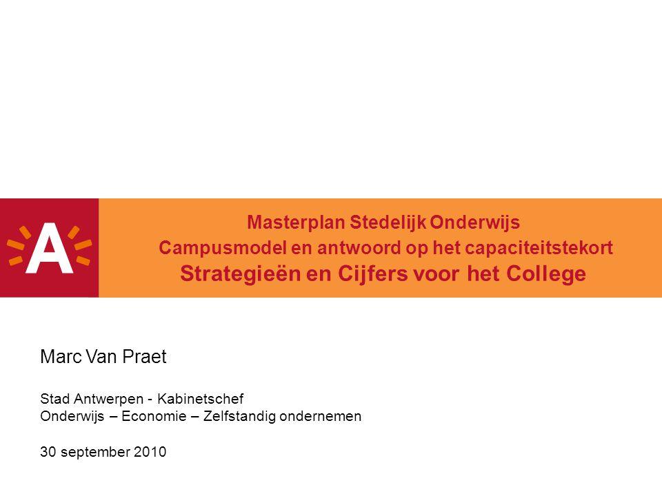 Masterplan Stedelijk Onderwijs Campusmodel en antwoord op het capaciteitstekort Strategieën en Cijfers voor het College Marc Van Praet Stad Antwerpen