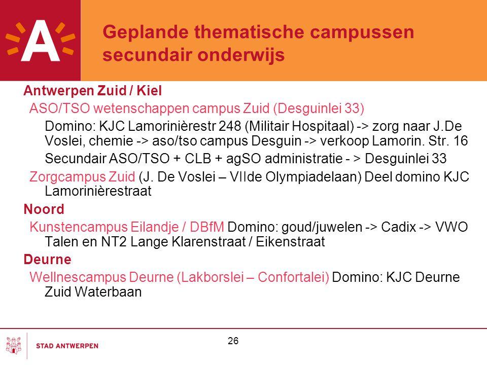 26 Geplande thematische campussen secundair onderwijs Antwerpen Zuid / Kiel ASO/TSO wetenschappen campus Zuid (Desguinlei 33) Domino: KJC Lamorinières