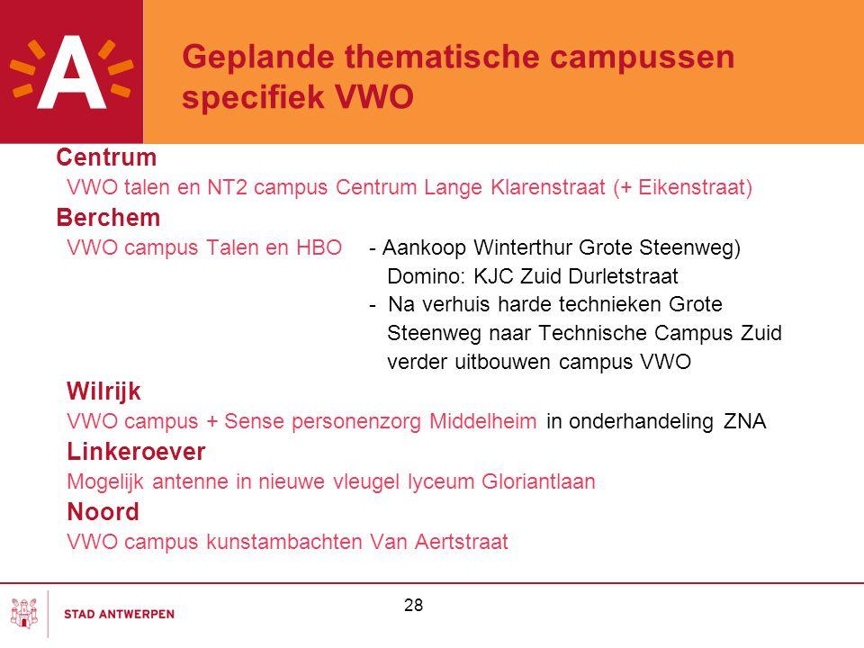 Geplande thematische campussen specifiek VWO Centrum VWO talen en NT2 campus Centrum Lange Klarenstraat (+ Eikenstraat) Berchem VWO campus Talen en HB