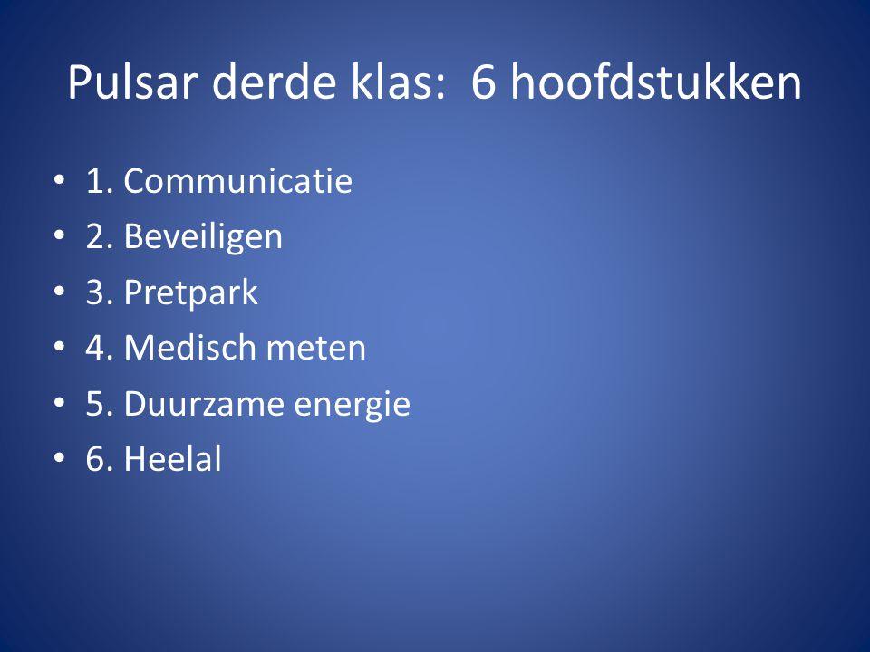Pulsar derde klas: 6 hoofdstukken 1.Communicatie 2.
