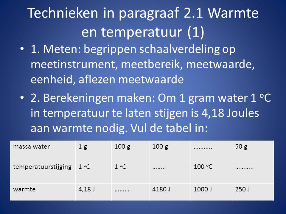 Technieken in paragraaf 2.1 Warmte en temperatuur (1) 1.