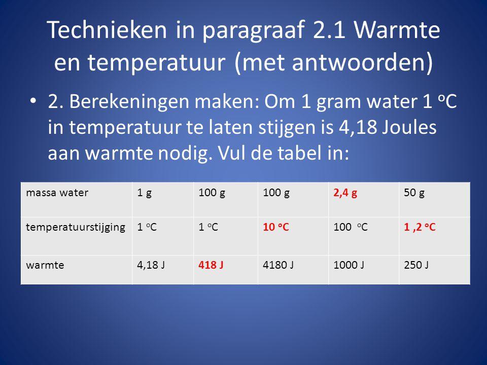 Technieken in paragraaf 2.1 Warmte en temperatuur (2) 3.