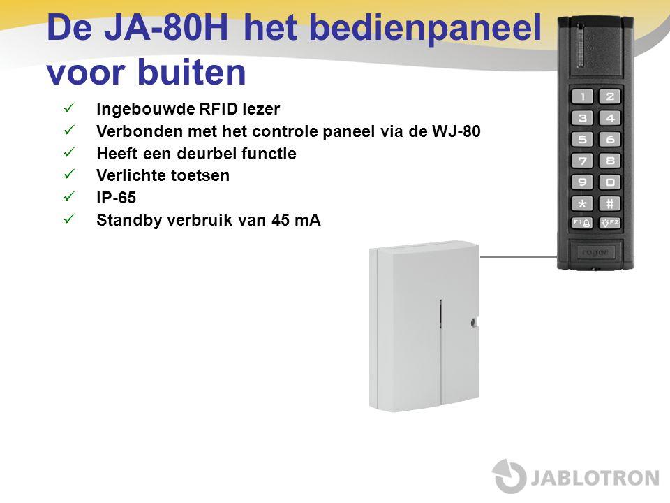 De JA-80H het bedienpaneel voor buiten Ingebouwde RFID lezer Verbonden met het controle paneel via de WJ-80 Heeft een deurbel functie Verlichte toetse