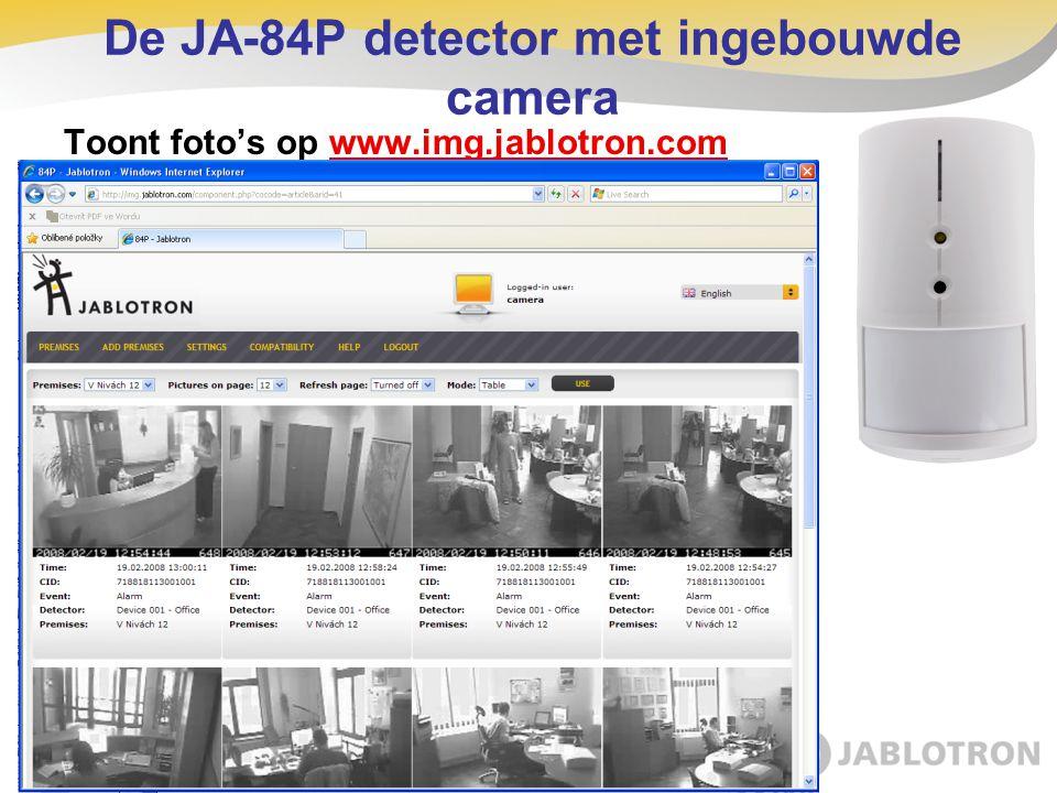 Toont foto's op www.img.jablotron.com De JA-84P detector met ingebouwde camera