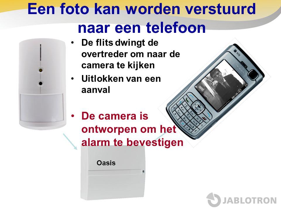 Een foto kan worden verstuurd naar een telefoon De flits dwingt de overtreder om naar de camera te kijken Uitlokken van een aanval De camera is ontwor