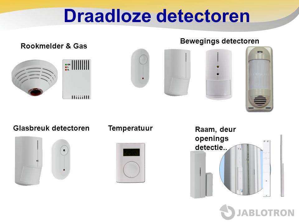 Draadloze detectoren Bewegings detectoren Rookmelder & Gas Glasbreuk detectoren Raam, deur openings detectie.. Temperatuur