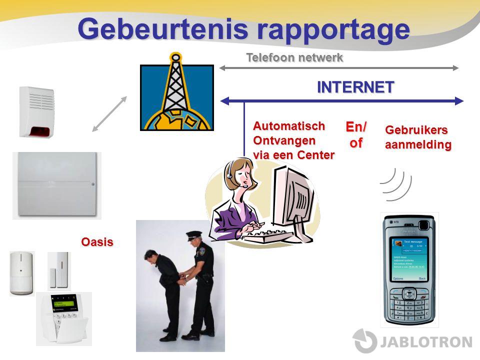 INTERNET Gebeurtenis rapportage Oasis Telefoon netwerk Automatisch Ontvangen via een Center En/of Gebruikers aanmelding