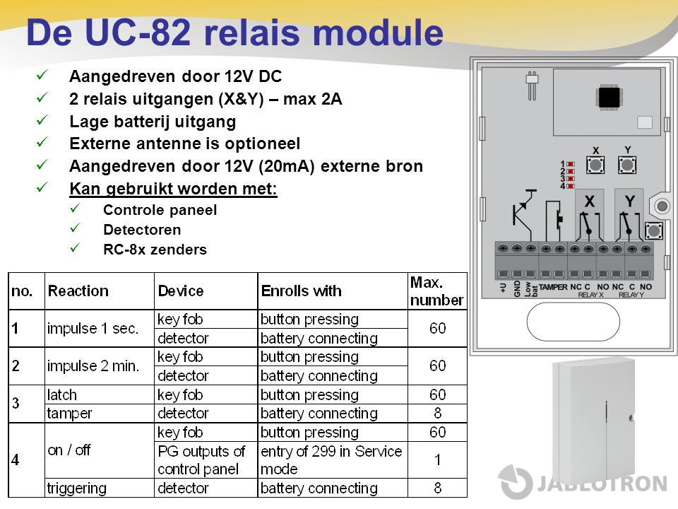 De UC-82 relais module Aangedreven door 12V DC 2 relais uitgangen (X&Y) – max 2A Lage batterij uitgang Externe antenne is optioneel Aangedreven door 1