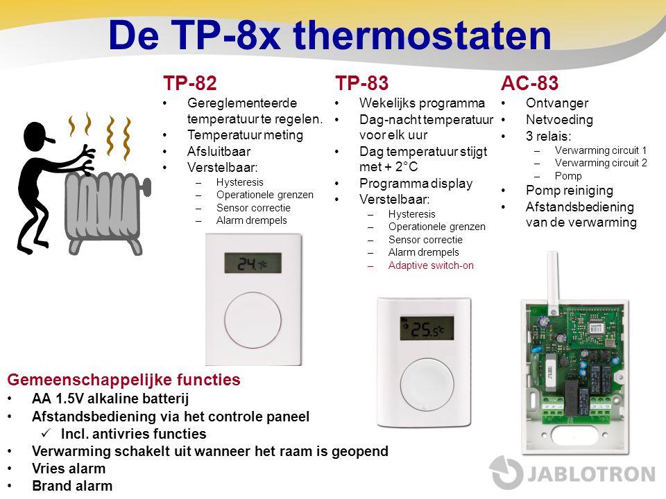 De TP-8x thermostaten Gemeenschappelijke functies AA 1.5V alkaline batterij Afstandsbediening via het controle paneel Incl. antivries functies Verwarm