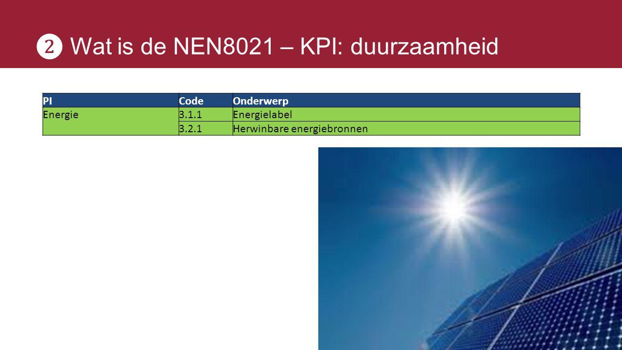 ❷ Wat is de NEN8021 – KPI: duurzaamheid PICodeOnderwerp Energie3.1.1Energielabel 3.2.1Herwinbare energiebronnen
