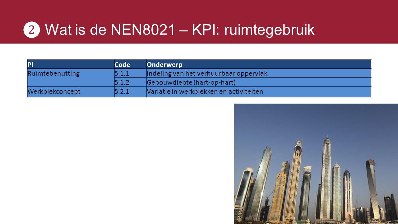 ❷ Wat is de NEN8021 – KPI: ruimtegebruik PICodeOnderwerp Ruimtebenutting5.1.1Indeling van het verhuurbaar oppervlak 5.1.2Gebouwdiepte (hart-op-hart) W