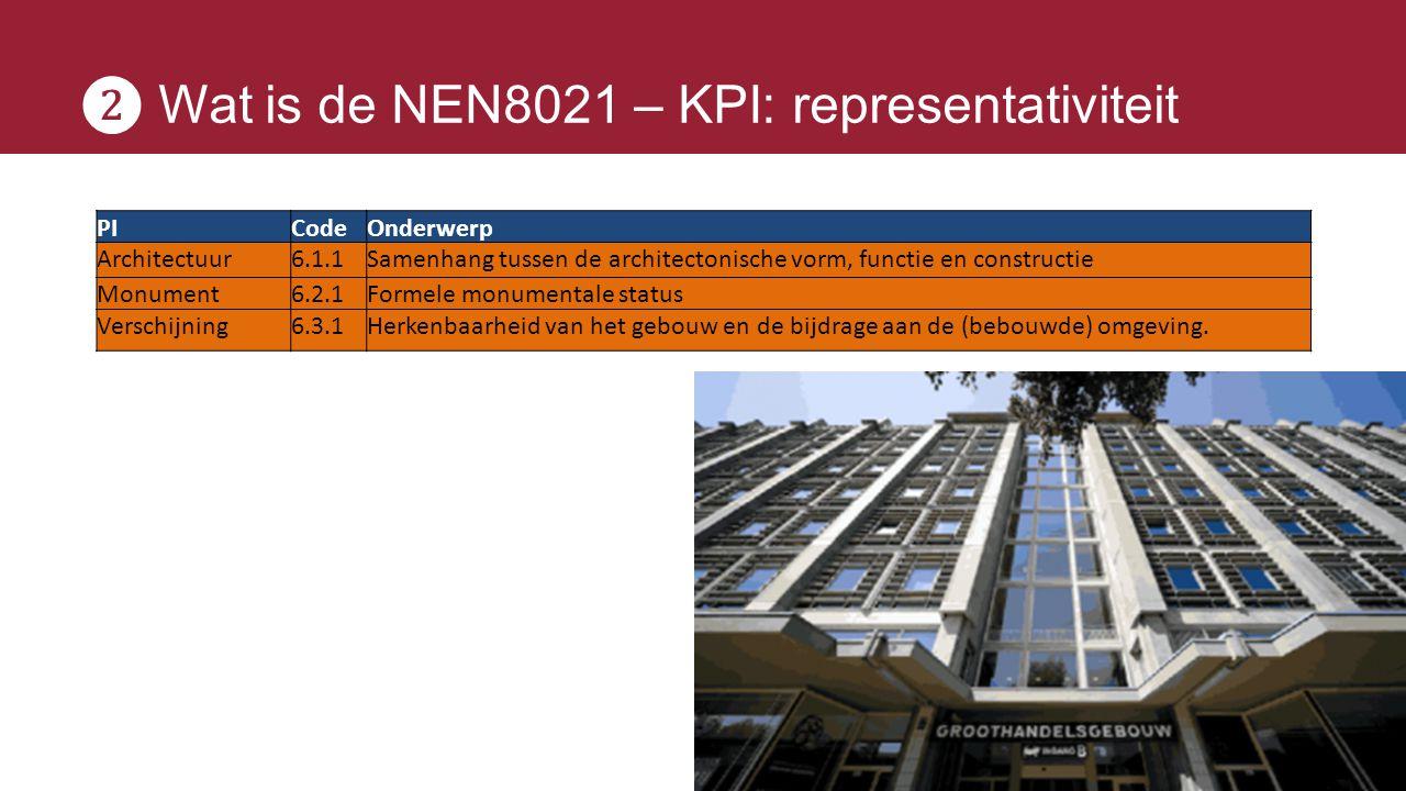 ❷ Wat is de NEN8021 – KPI: representativiteit PICodeOnderwerp Architectuur6.1.1Samenhang tussen de architectonische vorm, functie en constructie Monum