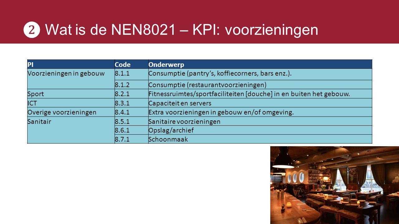❷ Wat is de NEN8021 – KPI: voorzieningen PICodeOnderwerp Voorzieningen in gebouw8.1.1Consumptie (pantry's, koffiecorners, bars enz.). 8.1.2Consumptie