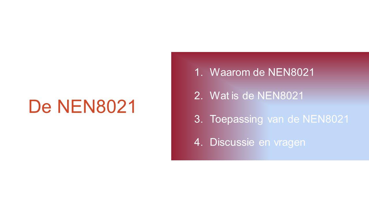 De NEN8021 1.Waarom de NEN8021 2.Wat is de NEN8021 3.Toepassing van de NEN8021 4.Discussie en vragen